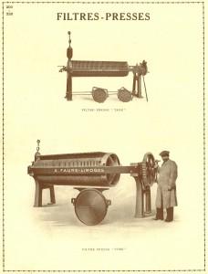 Le Filtre presse au début 20ème siècle